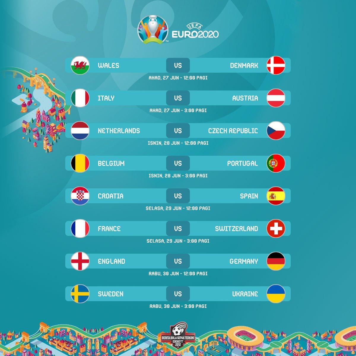 جدول مباريات دور الستة عشر كأس أمم أوروبا يورو 2020 - ثقفني