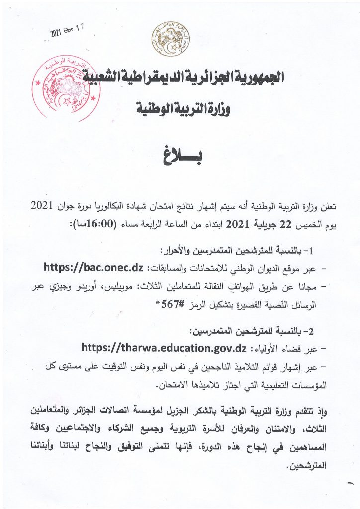 The results of the University of Algiers 2021