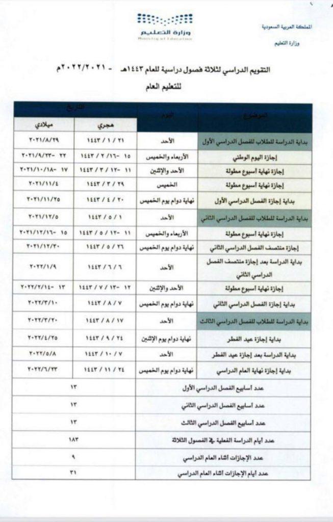 التقويم الدراسي لثلاثة فصول دراسية