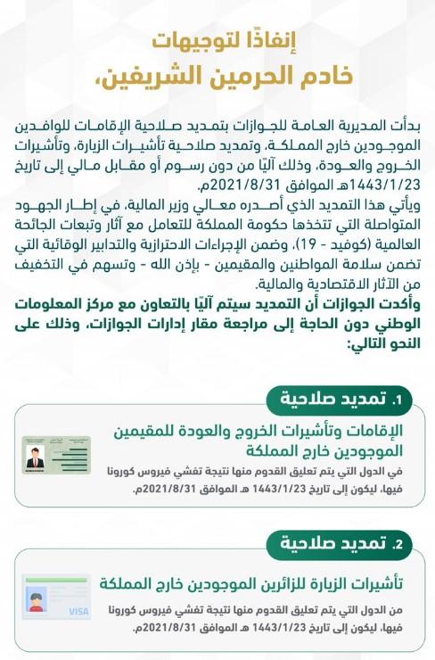 تمديد صلاحيه الإقامه للوافدين بالسعودية آليًا مجانًا بتوجيهات الملك حتى 31 أغسطس 2021