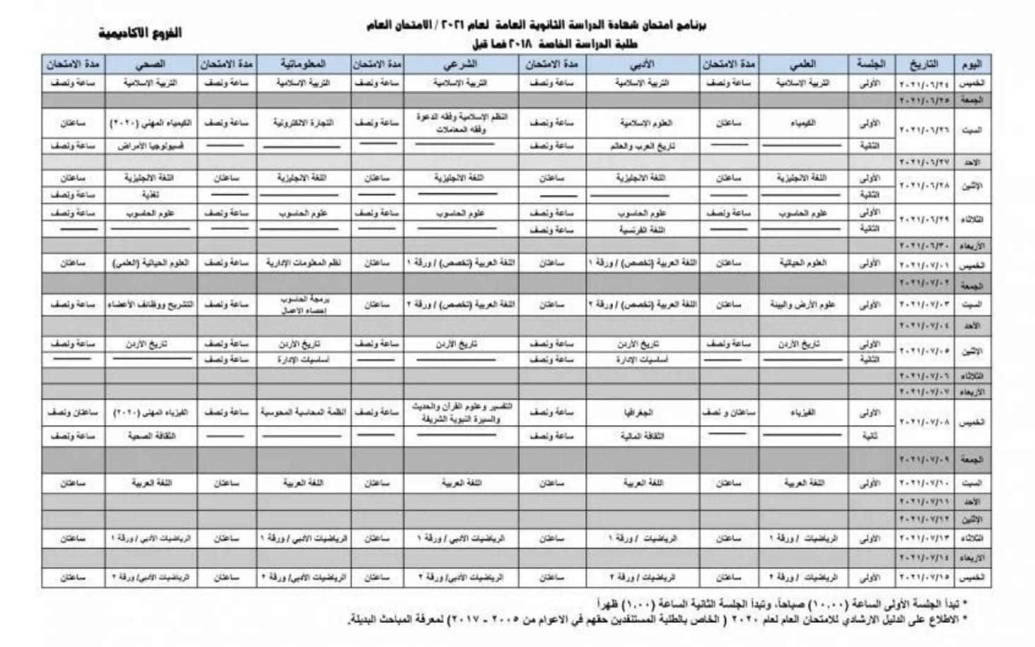 جدول امتحانات التوجيهي 2021 الأردن
