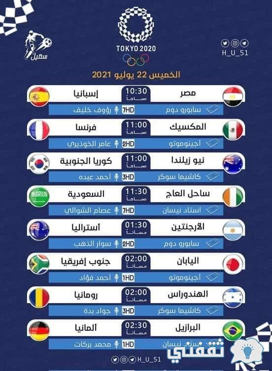 """""""مصر VS إسبانيا"""" تردد قناة بي ان سبورت الإخبارية bein sport أوليمبياد طوكيو 2021"""