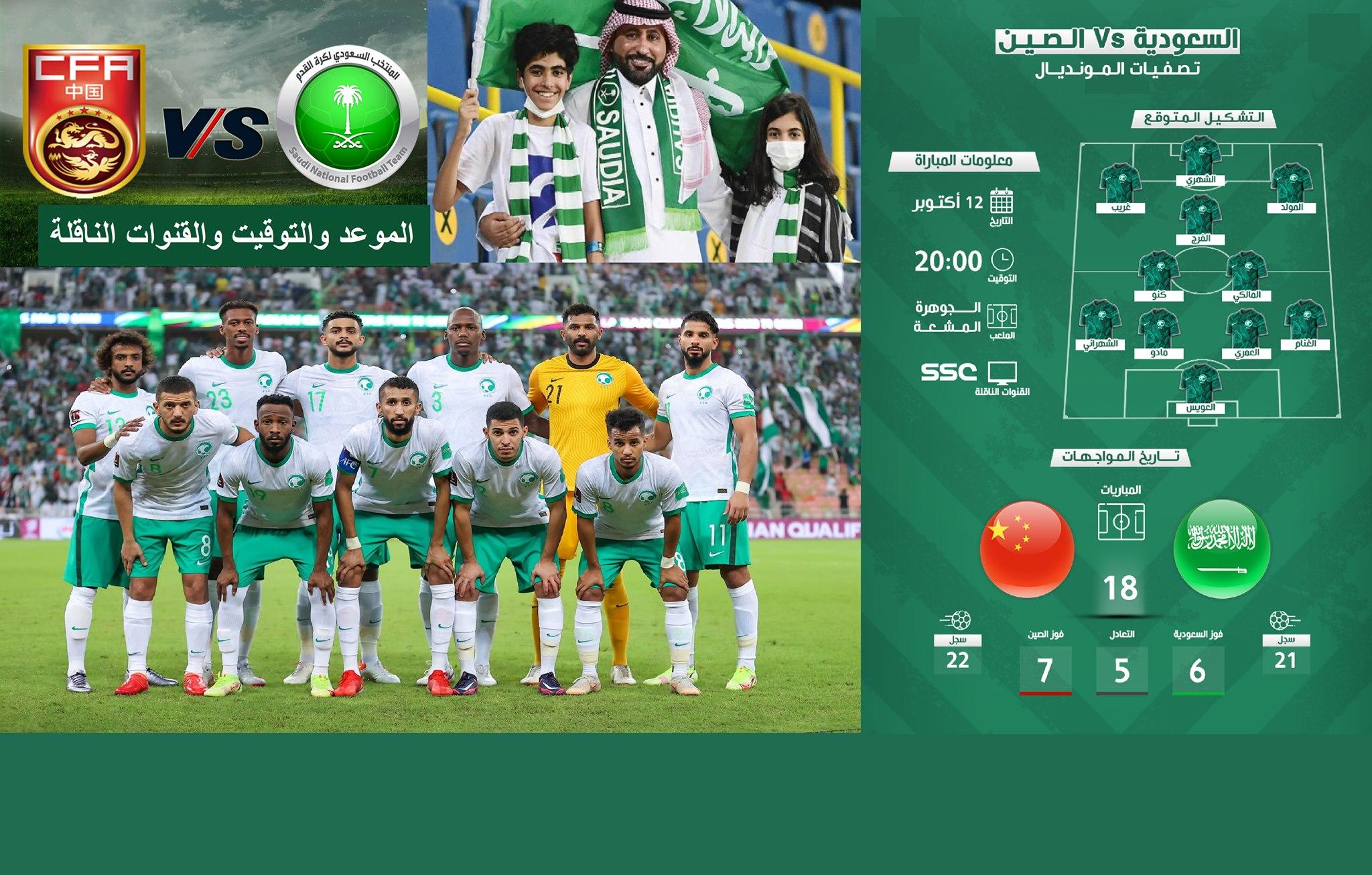 موعد وتوقيت مباراة السعودية والصين اليوم لانتزاع القمة التشكيل والقنوات الناقلة وترتيب المجموعة